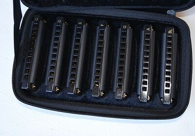Hohner Piedmont Blues 7-Harmonica Pack with Case PBH7