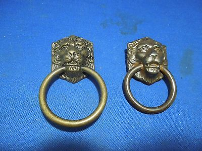 2 Brass Lion Ring Drawer Pulls - Decorative Design
