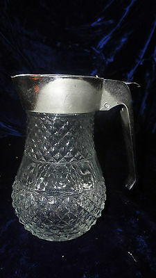 Vintage Diamond Glass Syrup Pitcher with Silver Plastic Lid