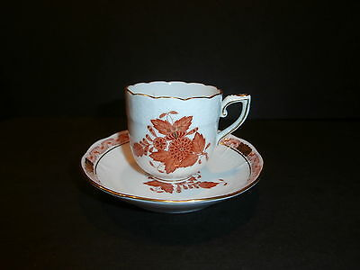 Herend Chocolate Mocha Demitasse Cup and Saucer Rust Chinese Bouquet 709 AOG