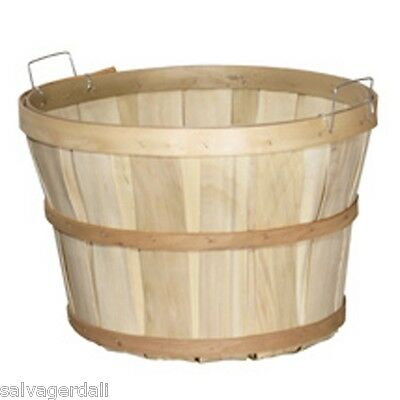 Natural Wood 1/2 Peck Basket Retail Merchandise Display USA Made Lot of 12 NEW