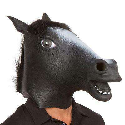 Black Horse Head Mask Panto Fancy Dress Party Cosplay Halloween Adult Costume