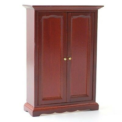 Mahogany Two Door Wardrobe, Dolls House Miniature Bedroom Furniture 1:12th Scale