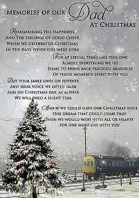 Memorial Christmas Card 'Memories Of Our Dad' Grave Cemetery Card