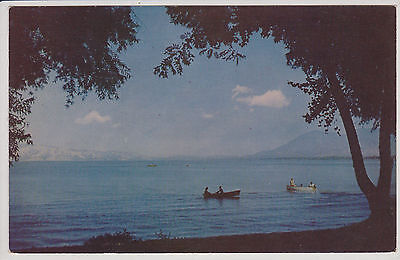 BOATING ON CLEAR LAKE, CA .  VINTAGE CHROME POSTCARD