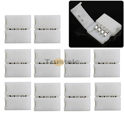 White 10pcs 10mm 4 Pin Solderless RGB Connector Cable for LED Light Strip