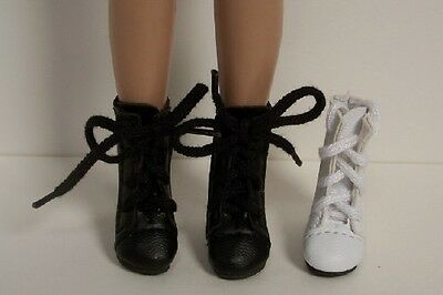 """BLACK LaceUp Lace Up Boots Doll Shoes For 12"""" Marley Wentworth DEBs"""