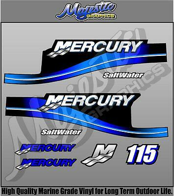 MERCURY 115hp SALTWATER - DECAL KIT - OUTBOARD DECALS