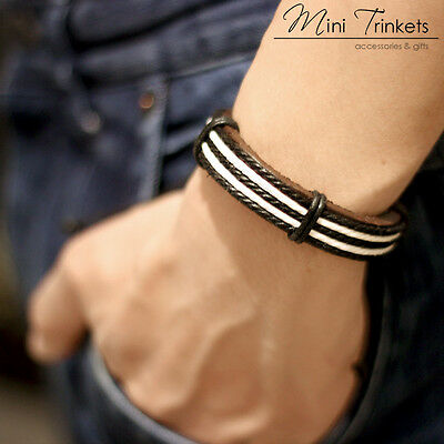 Mens Boys Handmade Leather Braided Surfer Nautical Wristband Bracelet Gift