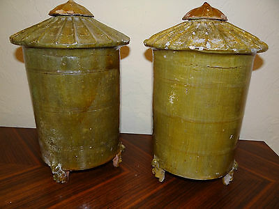 """Antique rare pair Chinese pottery granary urns jars Han Dynasty impressive 15"""""""