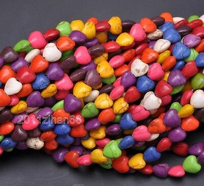 50pcs multicolor charm Turquoise heart Loose Beads Spacer Bead 8mm ZH463