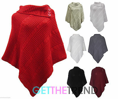 2fd307d498b New Ladies Women s Cable Knitted Poncho Sweater Jumper Top UK Plus Size  Fits All