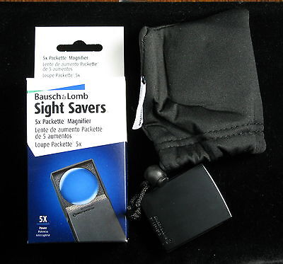 5x Bausch & Lomb Sight Savers Compact Pocket Coin Magnifying Glass Loupe