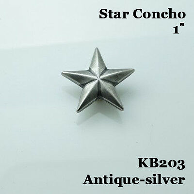 【KB203】1'' (2.6cm) Western Star Concho Saddle Concho Leathercraft Antique-silver