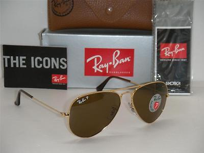 RAY BAN AVIATOR 3025 GOLD FRAME BROWN POLARIZED RB 3025 001/57 55mm SMALL NEW