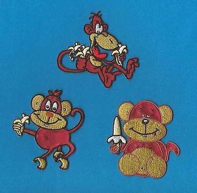 3 Lot Cartoon Monkeys Embroidered Iron On Hat Hoodie Backpack Patches Crests