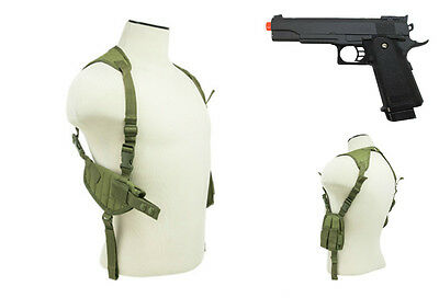 Halloween Costume OD Green Pistol Shoulder Holster & Prop Airsoft Gun CV2909G