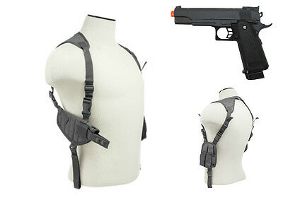 Halloween Costume Grey Pistol Shoulder Holster & Prop Airsoft Gun CV2909U