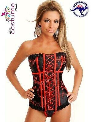New STUNNING Black and Red Burlesque Boned Corset Bustier Size 6-22 AU