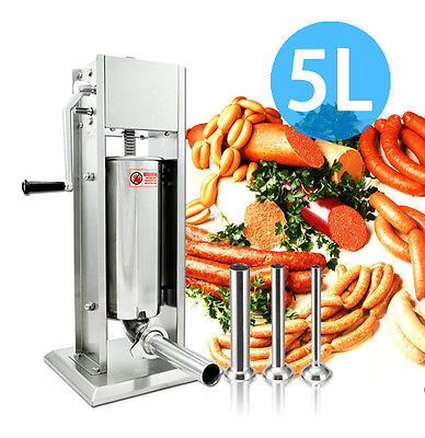 5L Vertical Commercial Sausage Stuffer Meat Stainless Steel Filler 15lb 2 Speed