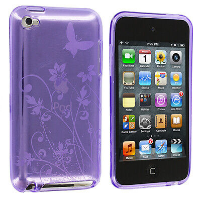 Purple TPU Flower Skin Case Cover for iPod Touch 4th Gen 4G 4