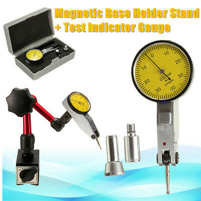 Dial Test Indicator Gauge Scale Precision + Flexible Magnetic Base Holder Stand