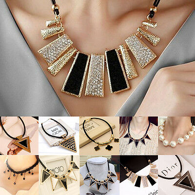 1pc Charm Fashion White Pearl Gold Silver Pendant Crystal Chain Jewelry Necklace