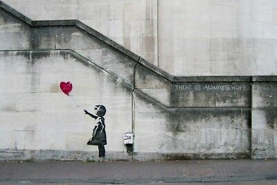 Banksy Girl With Red Heart Balloon WALL ART CANVAS FRAMED OR POSTER PRINT