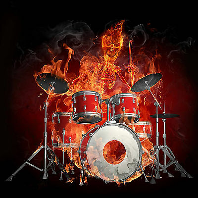 Skeleton Fire Flames Playing Drums WALL ART CANVAS FRAMED OR POSTER PRINT