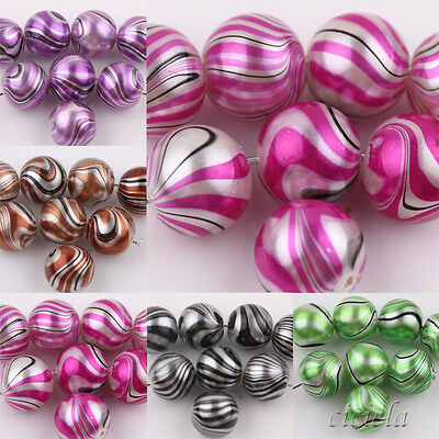 Hot Sell 20X LampWork Water Ripple Crystal Glass Round Art Bead Jewelry DIY 12MM