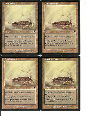 mtg Magic 4x Barren Moor ( Paramo esteril ) Spanish Excellent