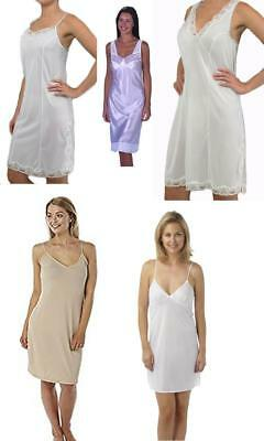Ladies Womens Full Slip Petticoat Chemise Sizes 10-32 NEW White, Black or Beige