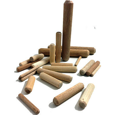 6mm x 20mm HARDWOOD MULTIGROOVE CHAMFERED WOODEN DOWELS FLUTED PINS CRAFT WOOD