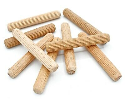 10mm x 70mm HARDWOOD MULTIGROOVE CHAMFERED WOODEN DOWELS FLUTED PINS CRAFT WOOD