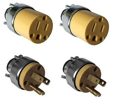 4 Pc Male Female Extension Cord Replacement Electrical Plugs 15AMP 125V 3 Prong
