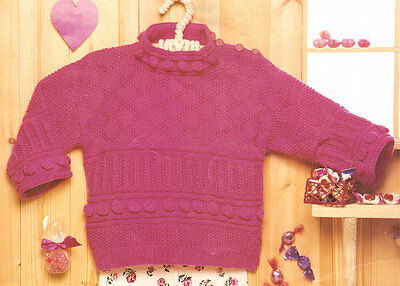 VINTAGE 1980S 1985 DK KNITTING PATTERN CHILDRENS BOBBLE CABLE SWEATER 20 24 in
