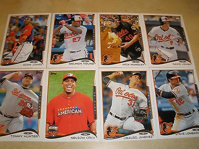 2014 Topps Update Series Baltimore Orioles Team Set (8)