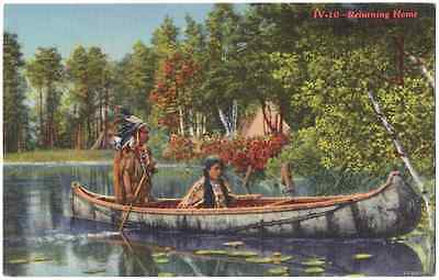 Vintage Postcard Native American Indian Couple in Canoe Curteich CT Colortone