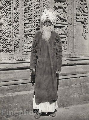 1928 Original INDIA Ajmer Fakir Islam Muslim Beard Mosque Photo Art By HURLIMANN