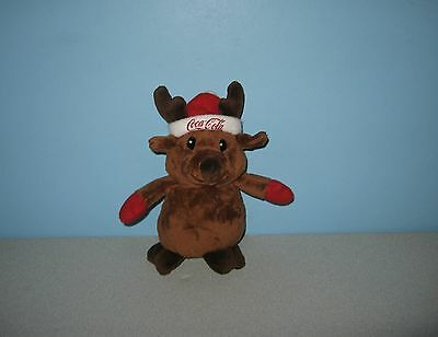 "8"" Coke Coca-Cola Stuffed Bean Plush Collection Christmas Reindeer Animal Lovey"