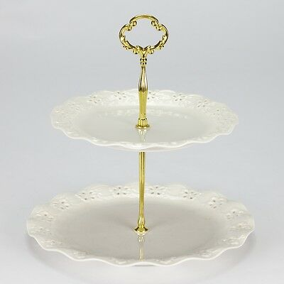 NEW Vintage style 2 tier cake stand party high tea porcelain cream cup cake