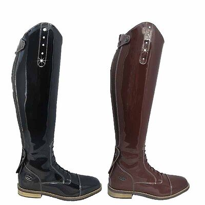 Crystal Patent Leather Look Showing Jumping Comfort Tall Riding Boots Size 3-10