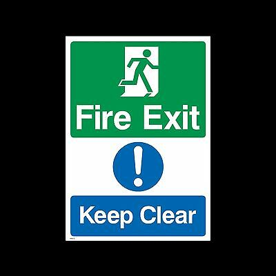 Fire Exit Keep Clear Plastic Sign or Sticker - All Sizes & Materials -  (MISC13)