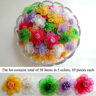 *50 pcs* Ribbon Flower Dog Hair Bow Puppy Grooming Pet Accessory 5 Color Set #3