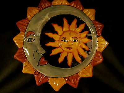 Heavy Mexican Art Pottery Trivet or Wall Hanging - Hand Painted Sun and Moon