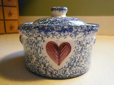 Molly Dallas Blue Spatterware - Covered Maragrine with Folk Art Heart