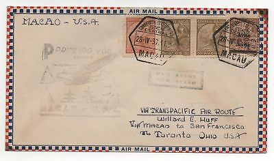 MACAO 1st Flight Cover 1937 Sc #C13, 290, 284 Pair to USA
