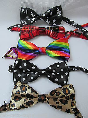 Ladies/kids Novelty Fashion Wedding Fancy Dress Bow Neck Tie:tartan Spots Animal