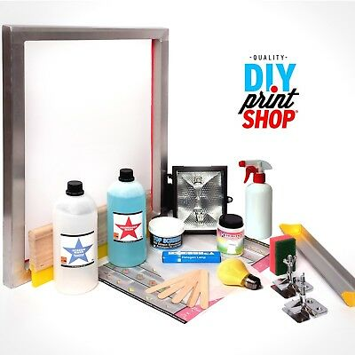 Screen Printing Kit with Frame Hinge clamps Ink Squeegee Emulsion Exposure etc..