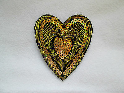 Gold Embroidered Heart with Gold Sequin Centre Heart Iron On Applique *SECONDS*